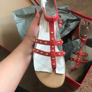 Brand new coral and gold stud sandals.